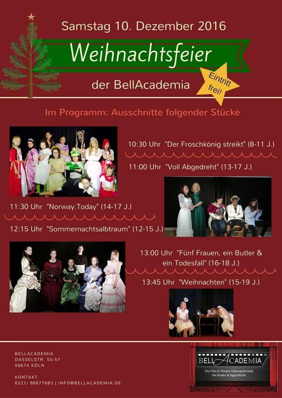 Weihnachtsfeier BellAcademia Schauspielschule